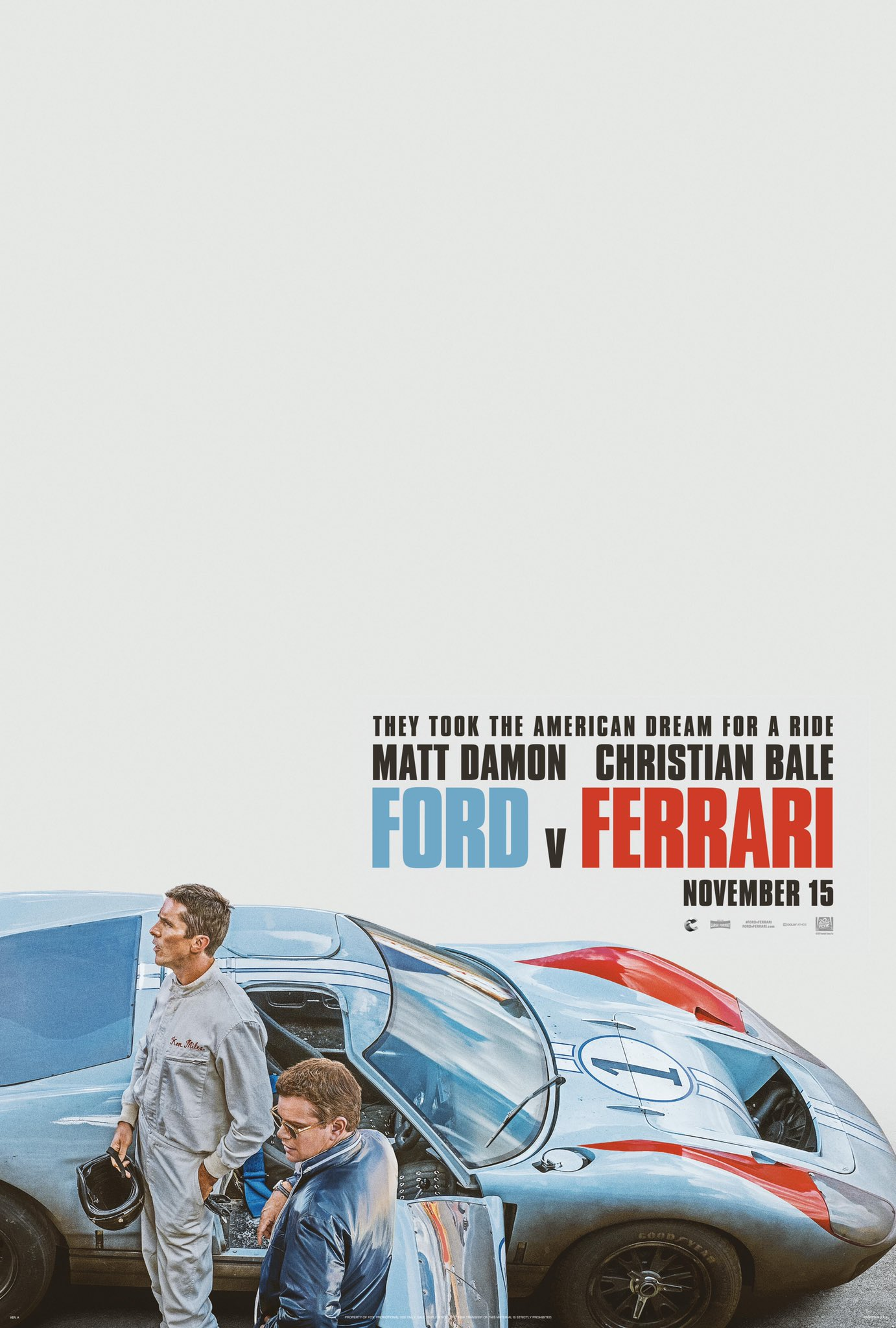 Ford V Ferrari Poster Matt Damon And Christian Bale Lead Racing Drama