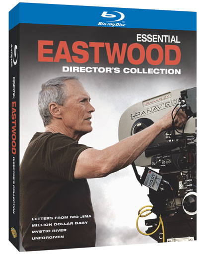 Essential Eastwood: Director's Collection in both Blu-ray and DVD; includes: Letters from Iwo Jima, Million Dollar Baby, Mystic River and Unforgiven.