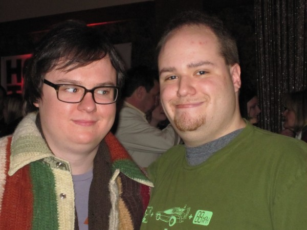 Me and Clark Duke, who is fascinated and spooked by my dead conjoined twin.