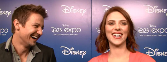 Jeremy Renner Scarlett Johansson THE AVENGERS interview D23 slice