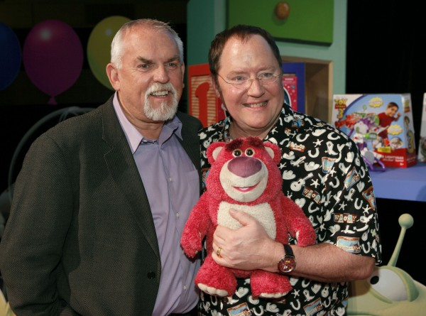 John Ratzenberger and John Lasseter with Lotso Bear