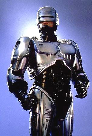 RoboCop stands proud on a blue background