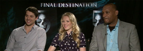 Emma Bell, Nicholas D'Agosto, Tony Todd FINAL DESTINATION 5 slice interview