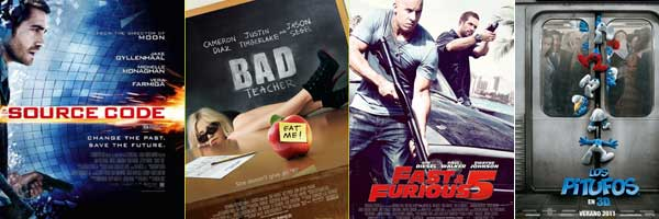 SOURCE CODE, BAD TEACHER, FAST FIVE and THE SMURFS slice