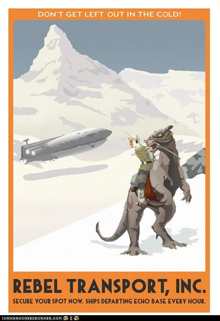 """Posters de """"viajes"""" de Star Wars"""